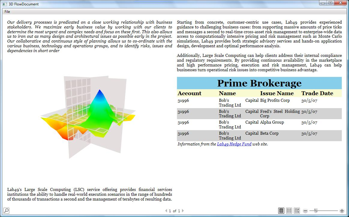 WPF: 3D FlowDocument | Tales from a Trading Desk